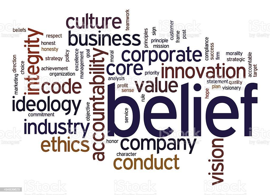 Belief word cloud stock photo