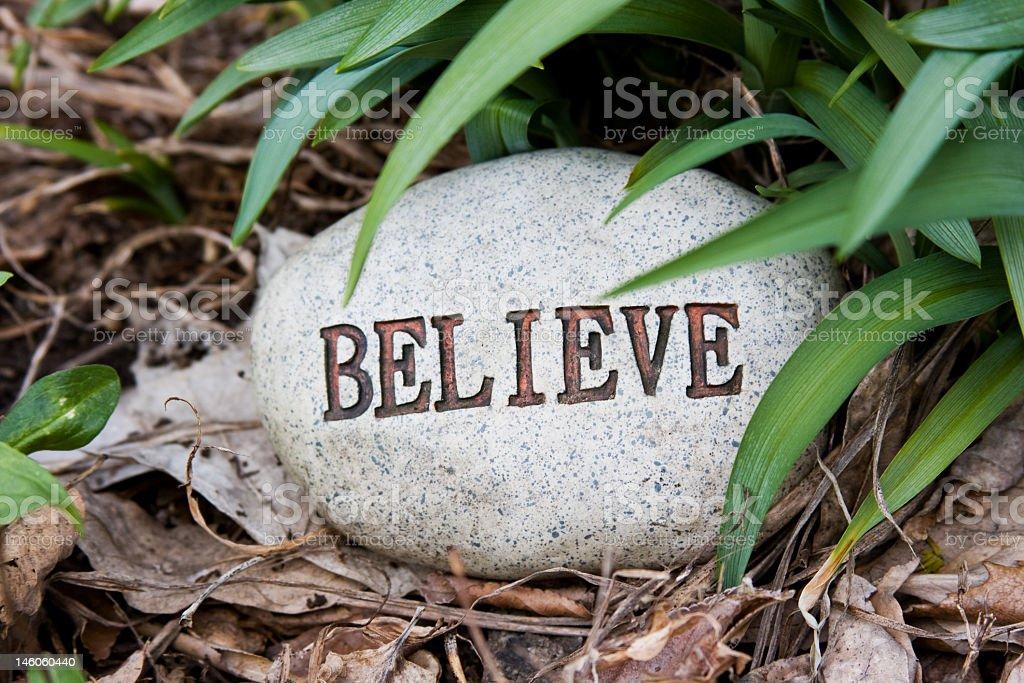 Believe Rock in Garden royalty-free stock photo