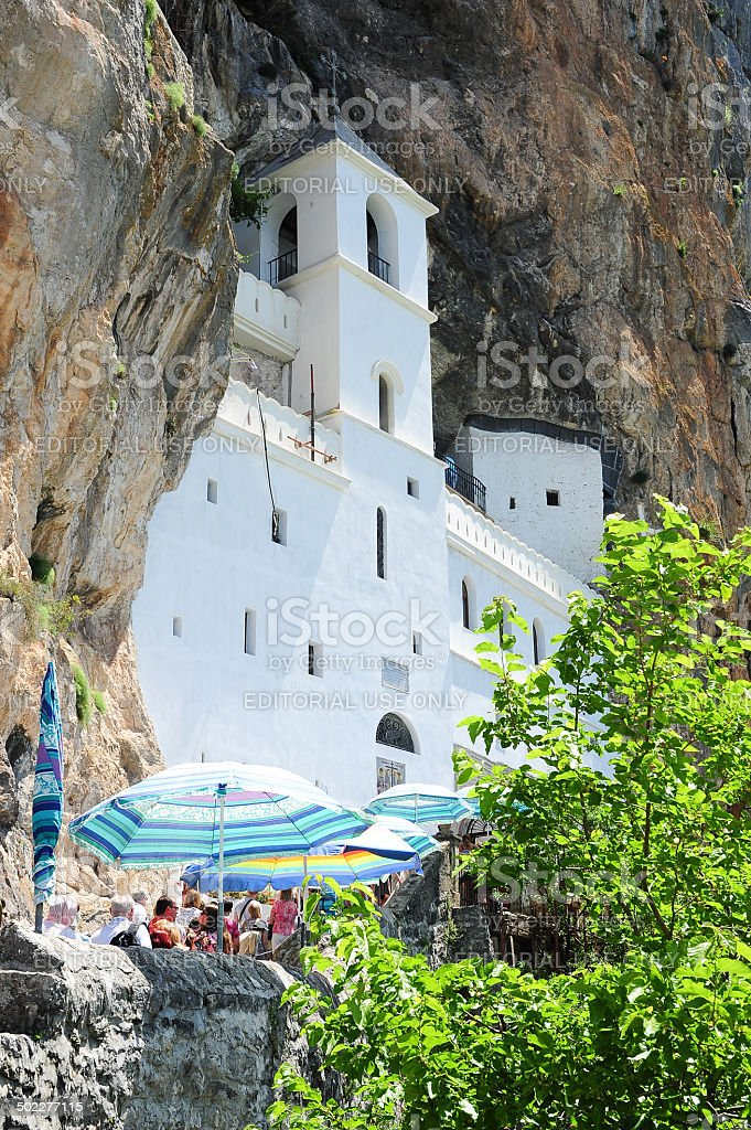 Believers lined up for the visit of the Ostrog monastery stock photo