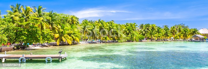 Belize, a tropical paradise in Central America. Web banner in panoramic view.