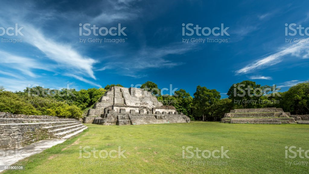 Belize Altun Ha Mayan Temple Complex Panorama stock photo