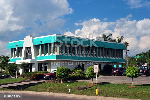 Belmopan, Cayo, Belize: the blue building of Belize Bank - is the first, oldest continuing, and largest bank in Belize - Constitution Drive.