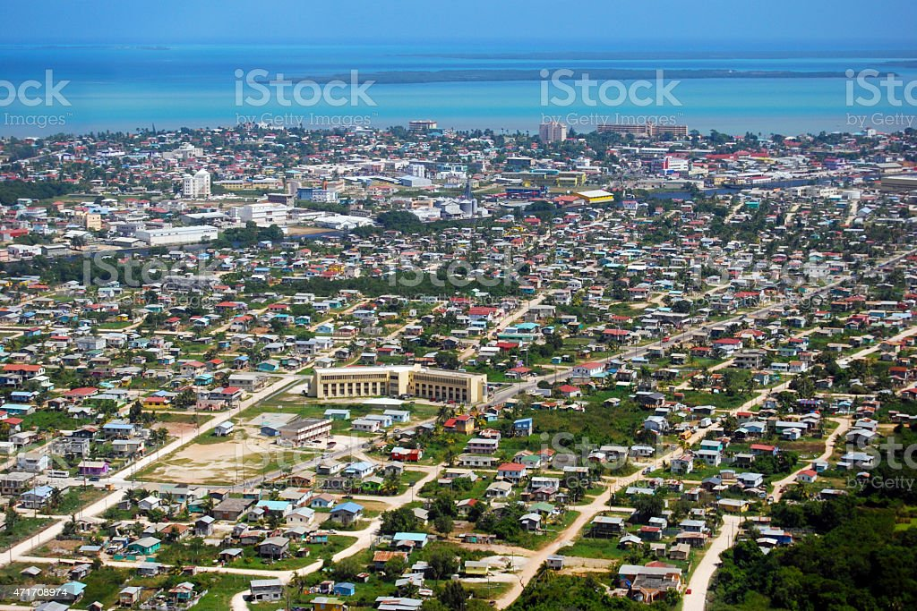 Belize City aerial photo Flying into Belize City, Belize with Caribbean view in the background. 2015 Stock Photo
