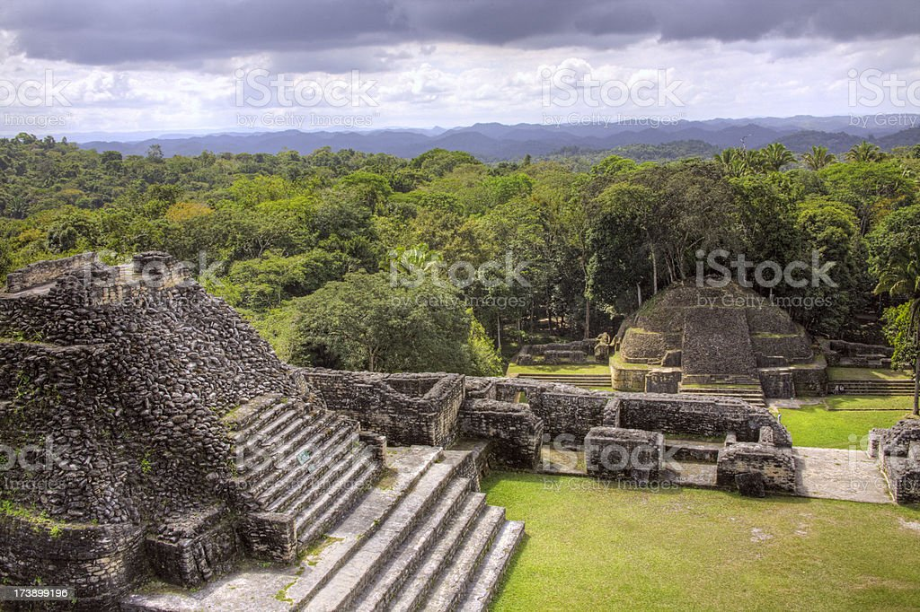 Belize: Mayan Ruins at Caracol, view from the Main Temple stock photo