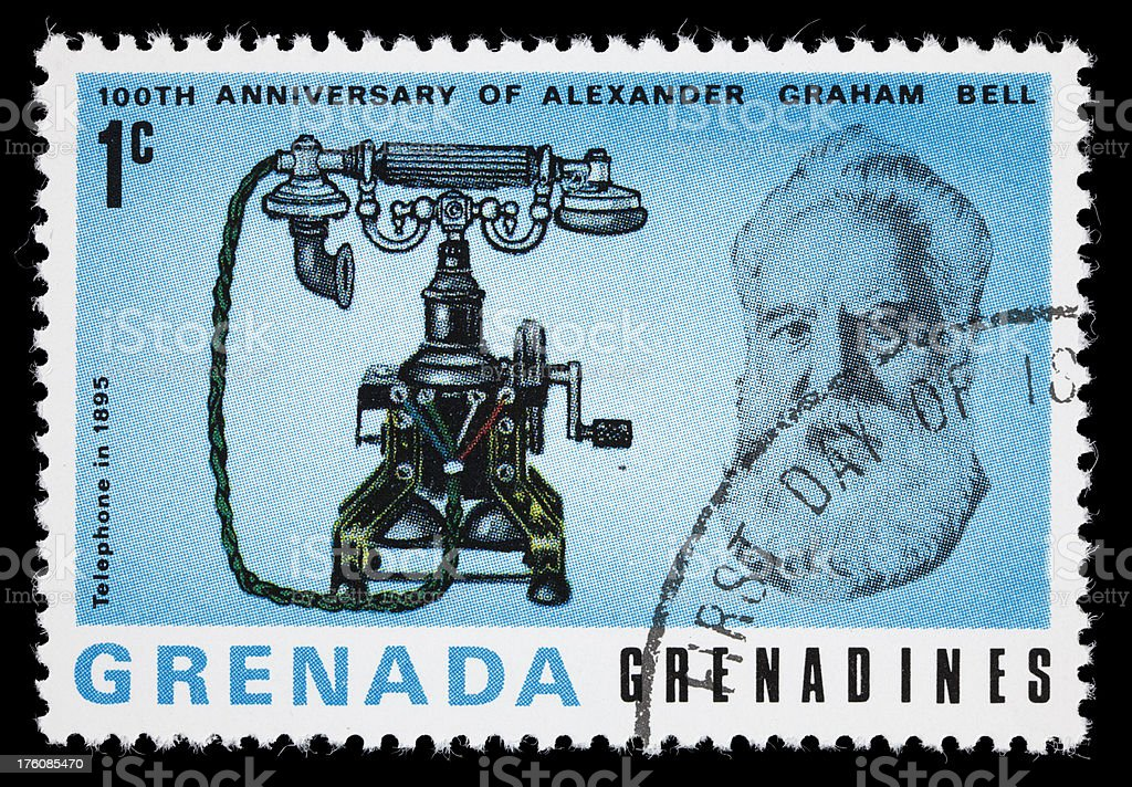 Bell and 1895 telephone postage stamp stock photo
