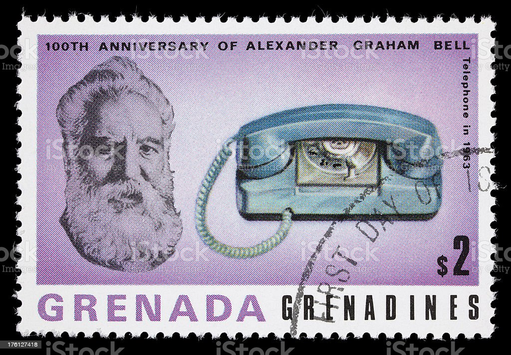 Bell and 1963 telephone postage stamp stock photo
