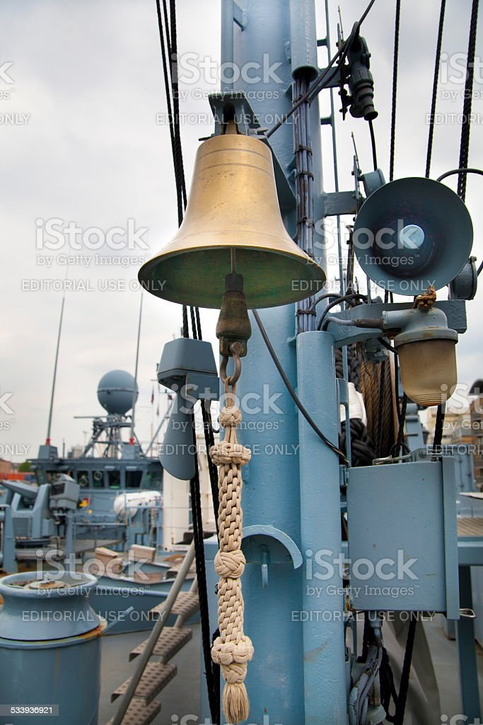 Bell and alarm speaker. German military ship stock photo