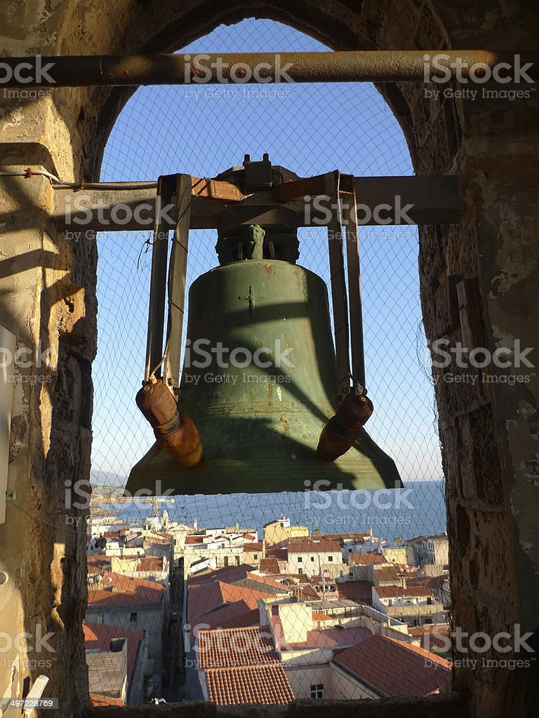 bell at alghero cathedral stock photo