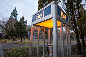 Picture of a Bell Canada Phone booth in Montreal, Quebec, Canada. Bell Canada is a Canadian telecommunications company headquartered in Quebec.