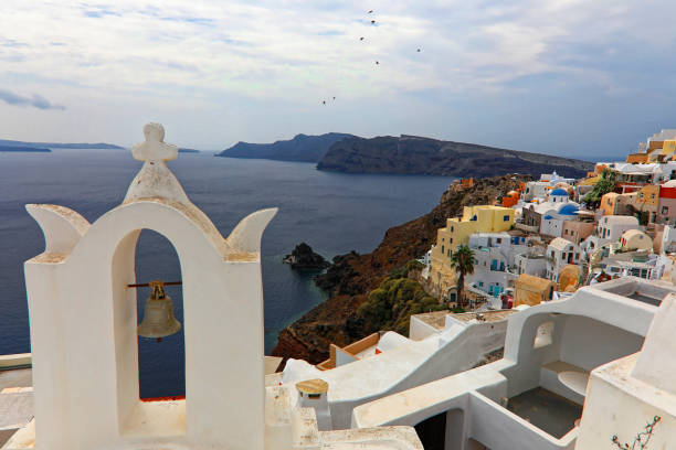 Bell church and birds passing by in Oia Santorini