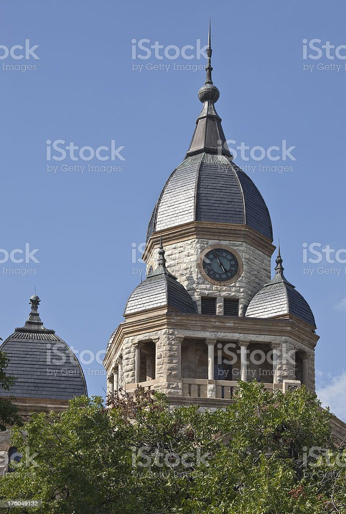 Bell/ Clock Tower on County Courthouse at Denton Texas stock photo
