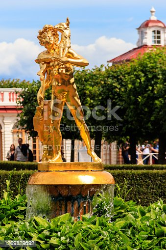 St. Petersburg, Russia - June 26, 2019: Bell fountain with a statue