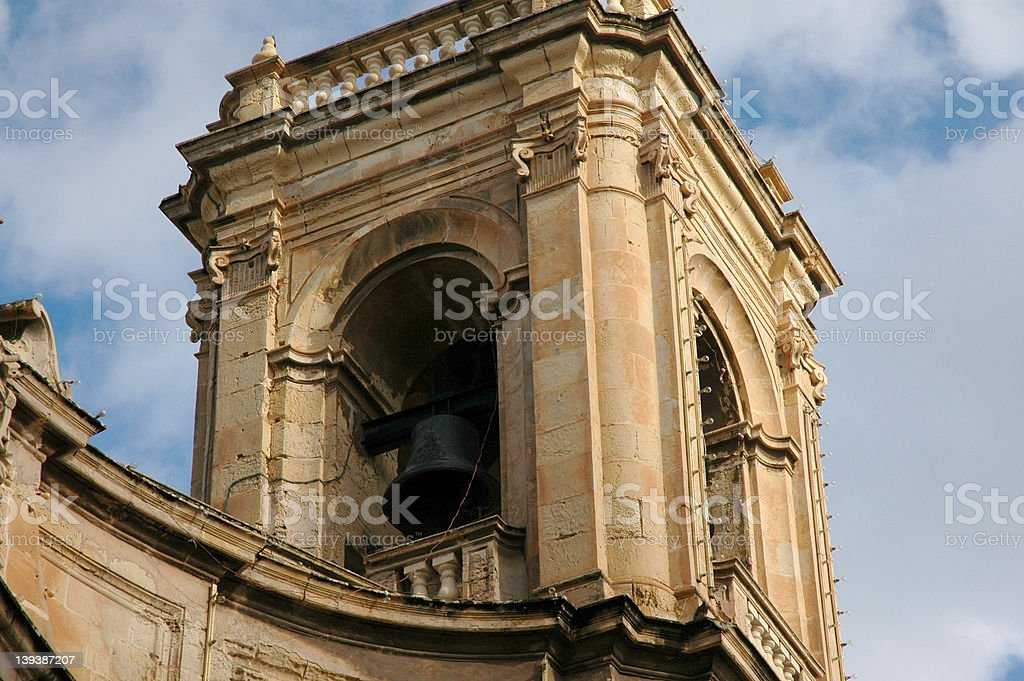 Bell in an arched tower. stock photo