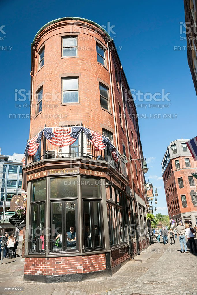 Bell in Hand Pub,  old Boston. stock photo