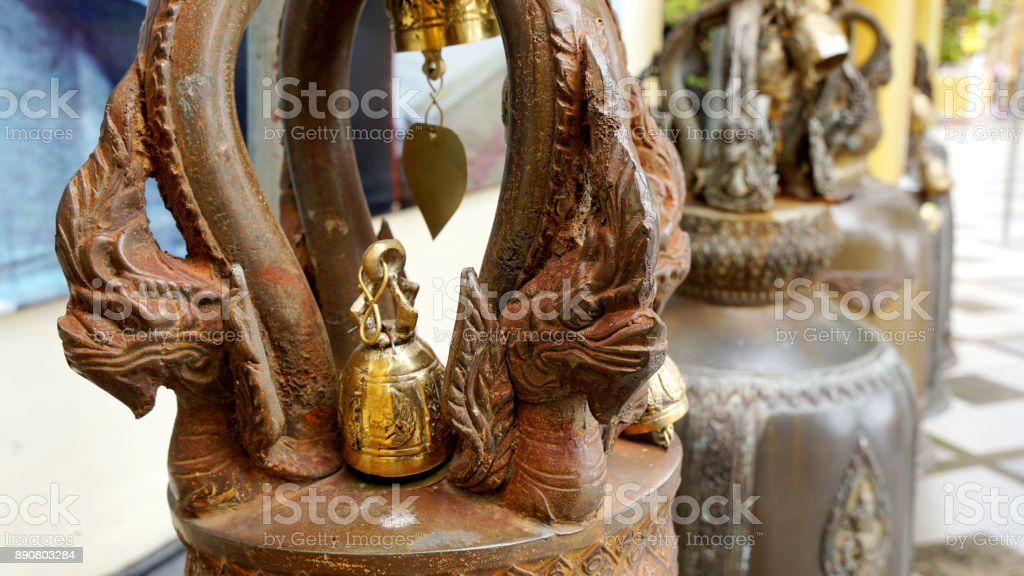 Bell in Thai temple stock photo
