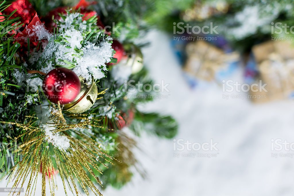 Bell on a Christmas Tree, Winter Background stock photo