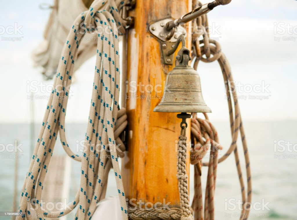 Bell on sailboat royalty-free stock photo