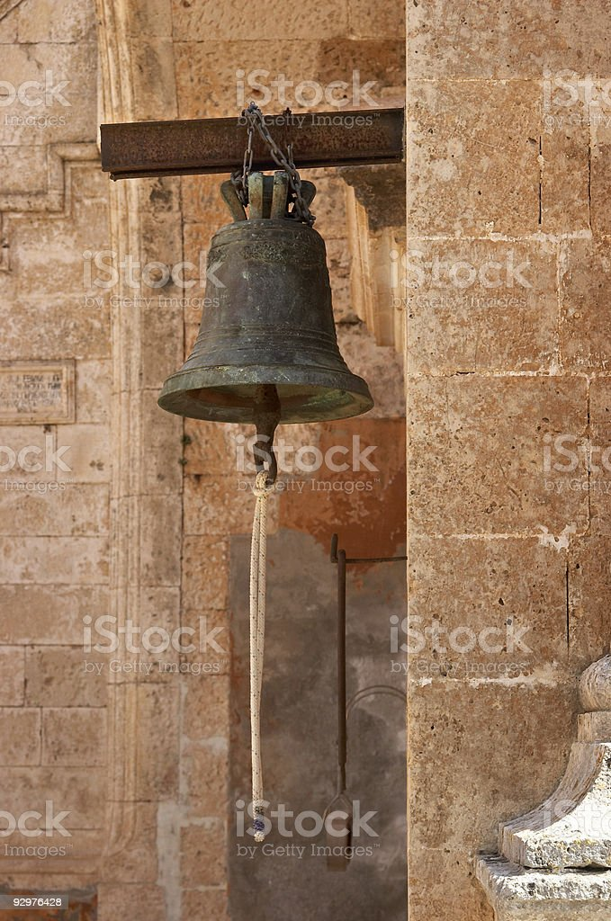 Bell on the wall stock photo