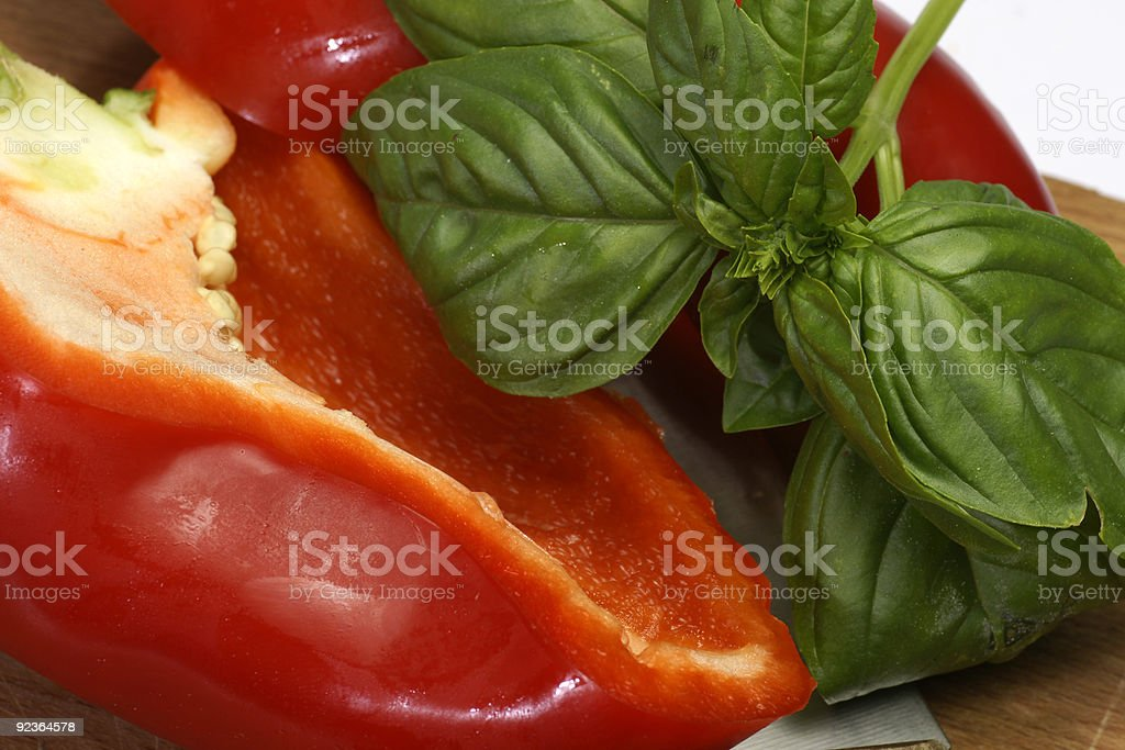 Bell Pepper and Basil royalty-free stock photo
