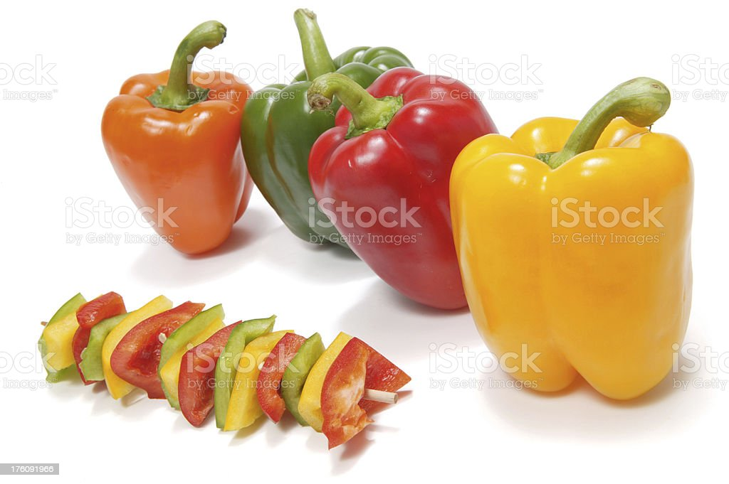 bell pepper skewer(with clipping path) royalty-free stock photo