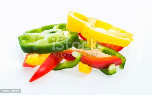 Bell pepper dices in a bowl.