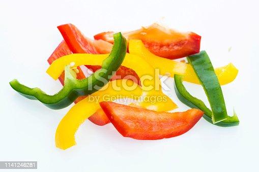Bell pepper slices on white background.