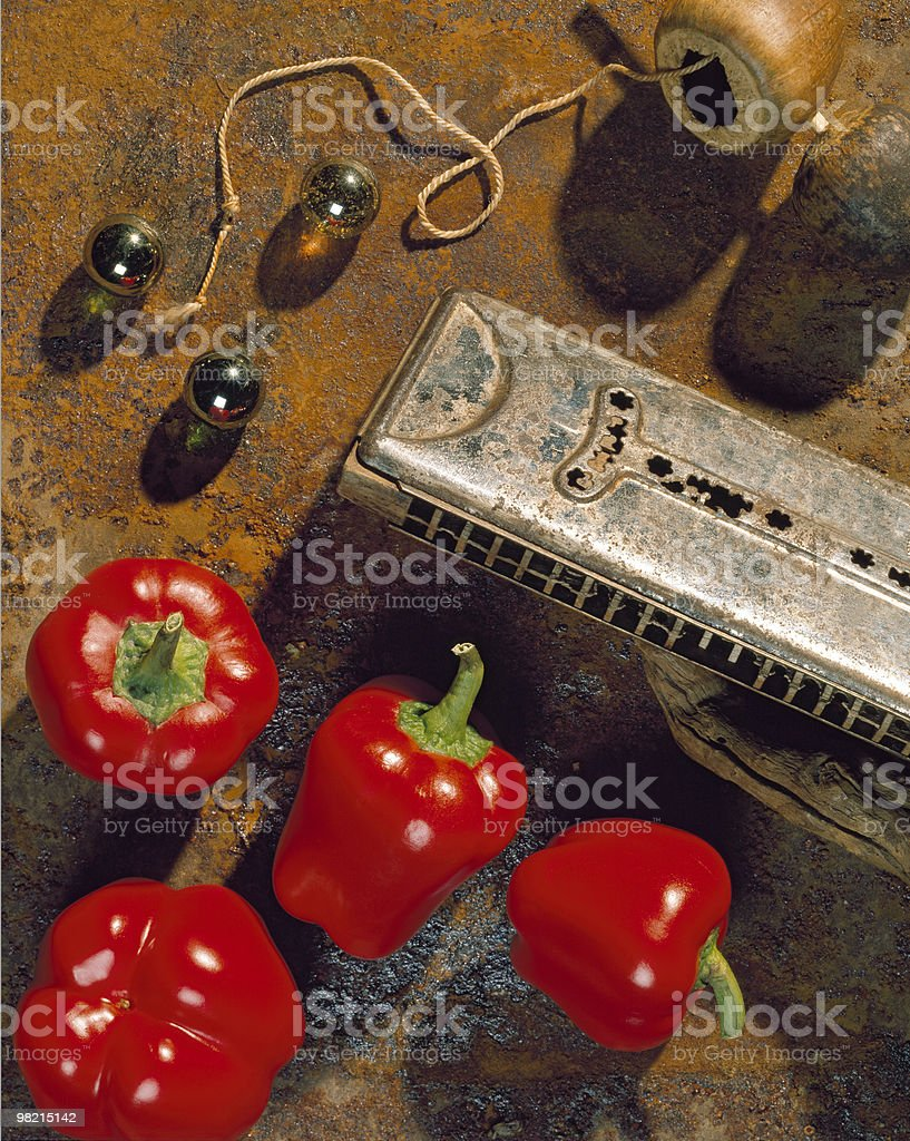 Bell Peppers and Harmonica royalty-free stock photo