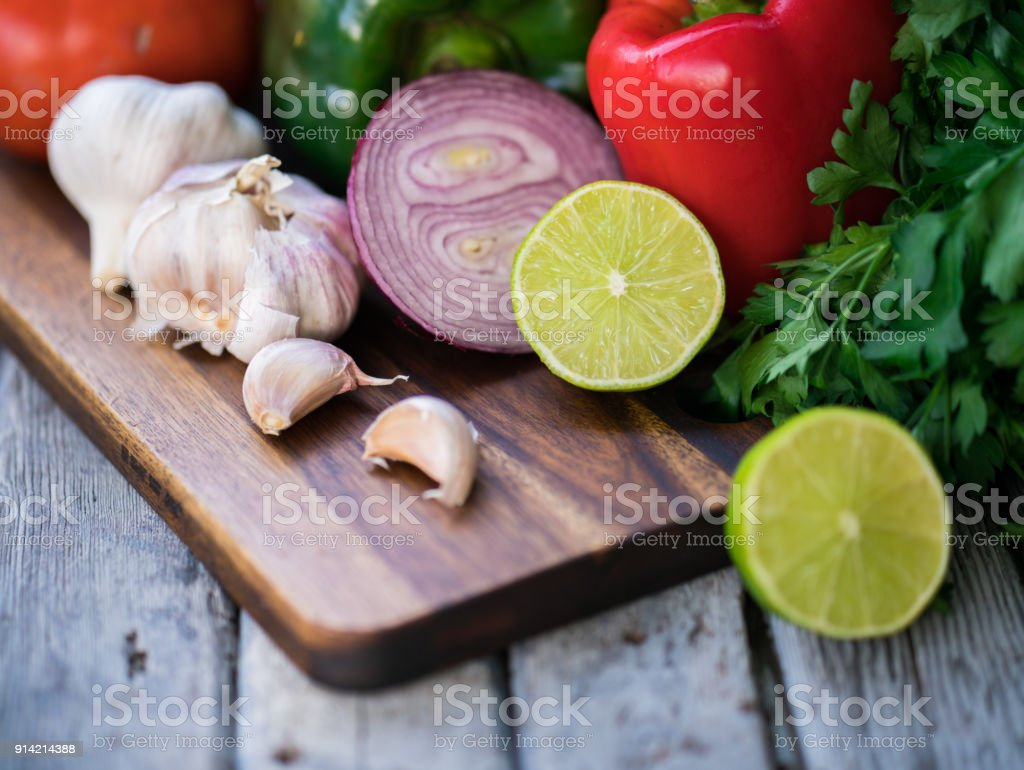 Bell peppers and onions stock photo