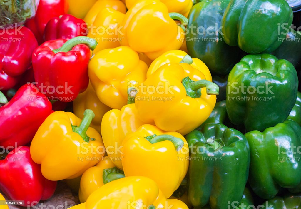 Bell Peppers in Borough Market, London royalty-free stock photo