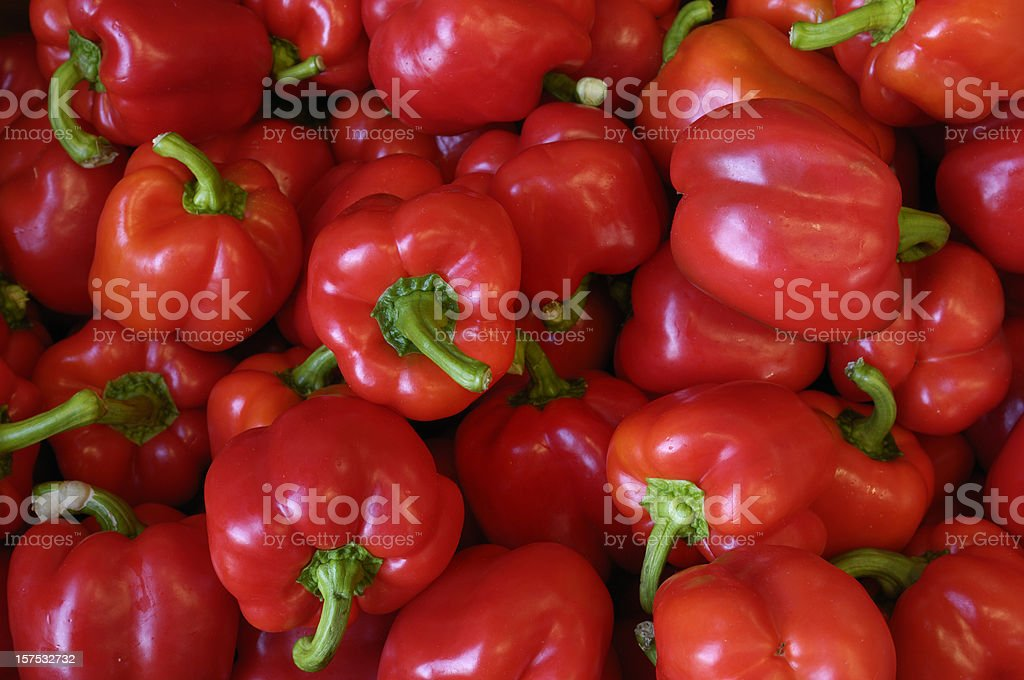 Bell Peppers in Shipping Box stock photo