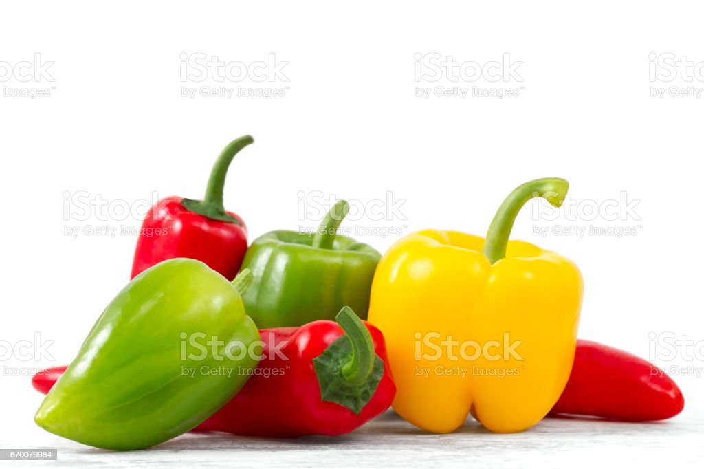 Bell Peppers on Kitchen Table stock photo
