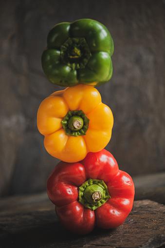 Bell peppers. Organic vegan raw food