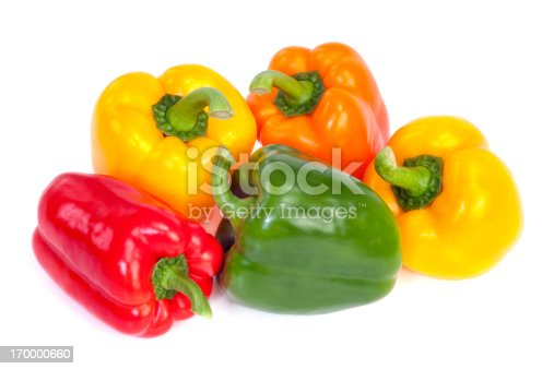 Group of  bell peppers isolated on white background. Green, yellow, red and orange colors.