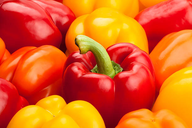 bell peppers bell peppers closeup yellow bell pepper stock pictures, royalty-free photos & images