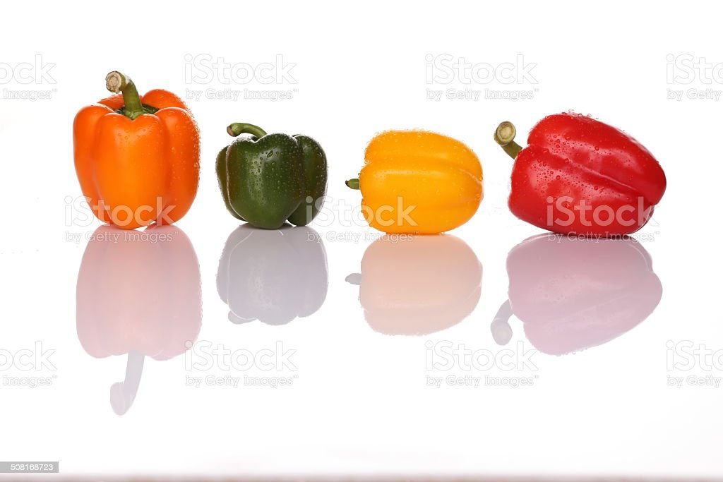 Bell Peppers  with water drops stock photo