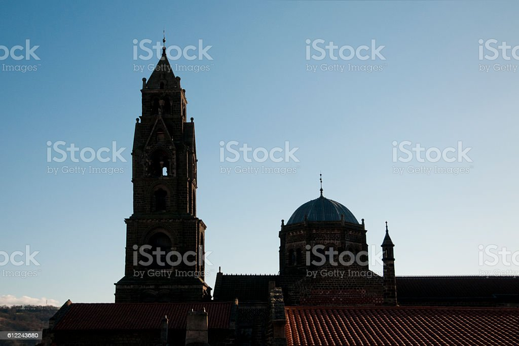 Bell tower and cupola  of cathedral stock photo