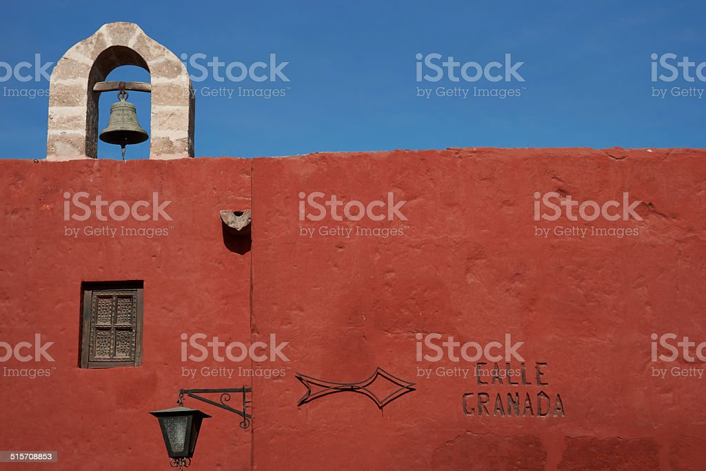 Bell Tower and Red Walls stock photo