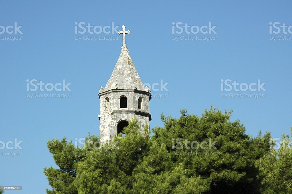 Bell Tower, Cavtat, Croatia. stock photo