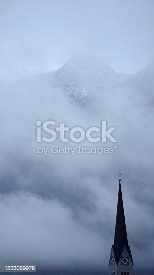 Bell tower close up hallstatt austria stock