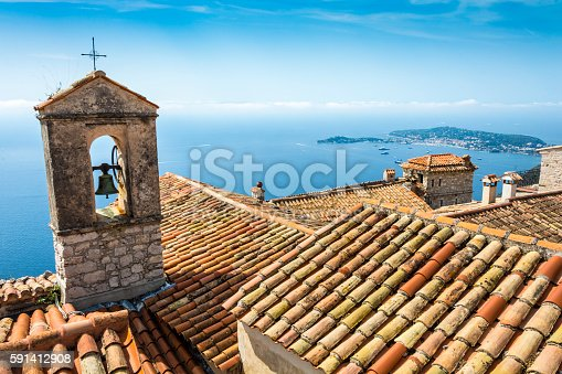 Detail of a bell tower on the Cote d'Azur Coast in France seen from Eze. The headland is Saint-Jean-Cap-Ferrat.