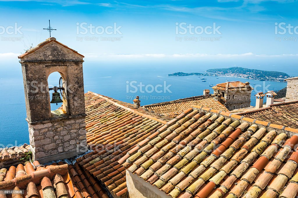 Bell Tower Cote d'Azur Coast in France stock photo