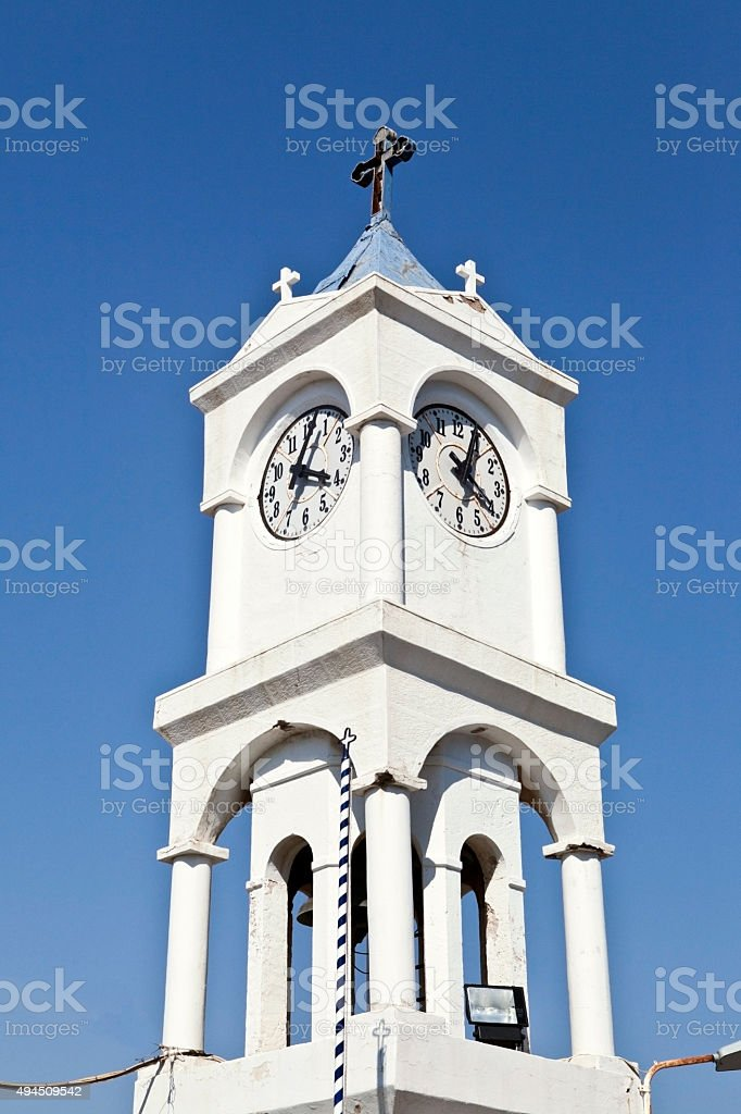 Bell Tower In Church In Pithagorio Samos Island Greece Stock Photo Download Image Now Istock