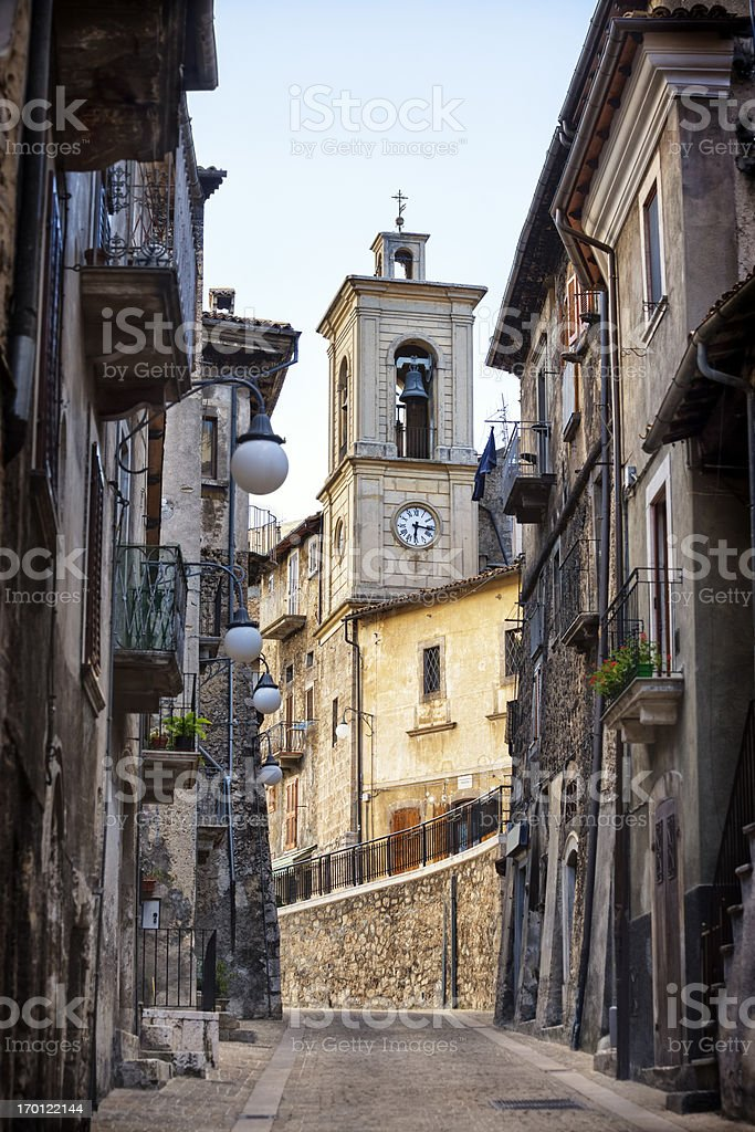 Bell tower in Piazza Vecchia, Scanno, L'Aquila Province, Abruzzi Italy royalty-free stock photo