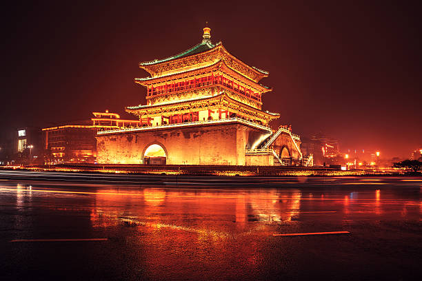 Bell tower in the ancient city Xian, China The bell tower in the ancient city Xian, lights of a bus and car pass in front of the tower bell tower tower stock pictures, royalty-free photos & images