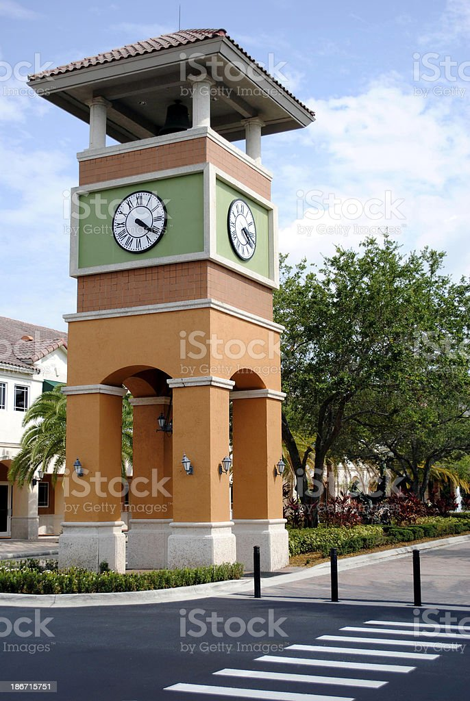 Bell tower in Weston town centre stock photo