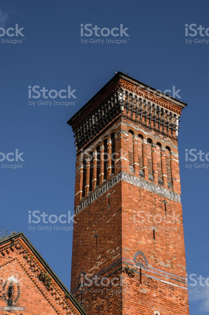 Bell tower of abandoned church stock photo