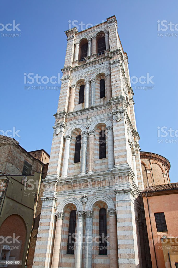 Bell tower of Ferrara Cathedral (Emilia-Romagna, Italy) royalty-free stock photo