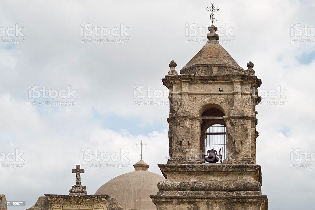 Bell Tower of Mission San Jose, SanAntonio Texas royalty-free stock photo