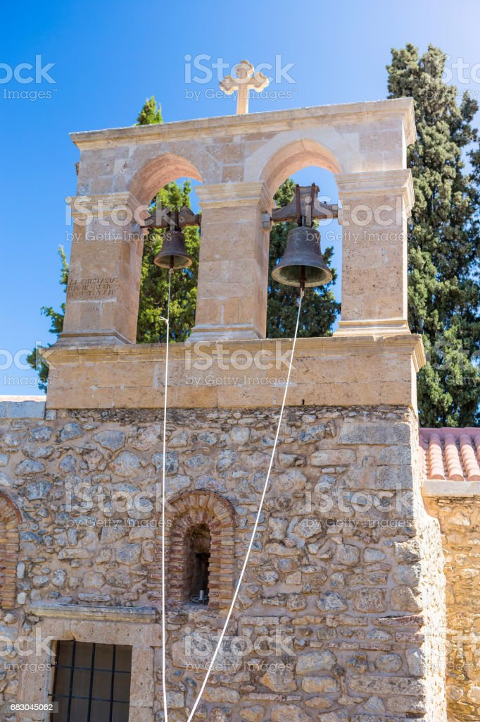 Bell tower of monastery Kera Kardiotissa in the mountains of Crete. Greece foto de stock royalty-free