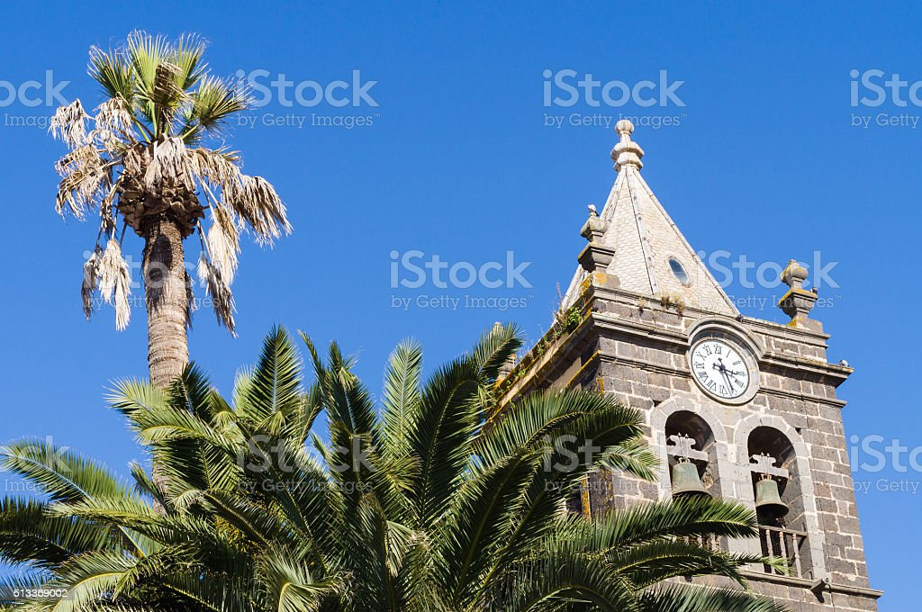 Bell tower of Monastery of San Agustin, La Laguna stock photo
